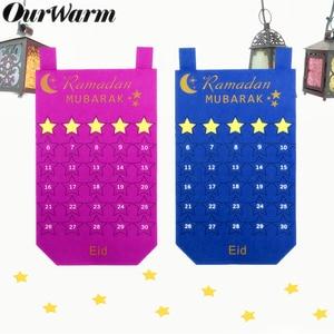 Image 2 - Ourwarm Eid Mubarak Decoratie Diy Vilt Kalender Gouden Ster Sticker Home Muur Opknoping Moslim Balram Ramadan Kareem Festival Party