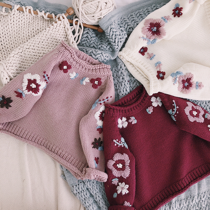 6M-8T Baby Girl Floral Sweater Autumn Winter 2018 New Sweet Girl Embroidery Sweater Soft Cotton Thick Baby Child Girl Sweater db4013 dave bella autumn baby girl sweet design sweater toddler sweaters infant clothes girl soft sweater high quality