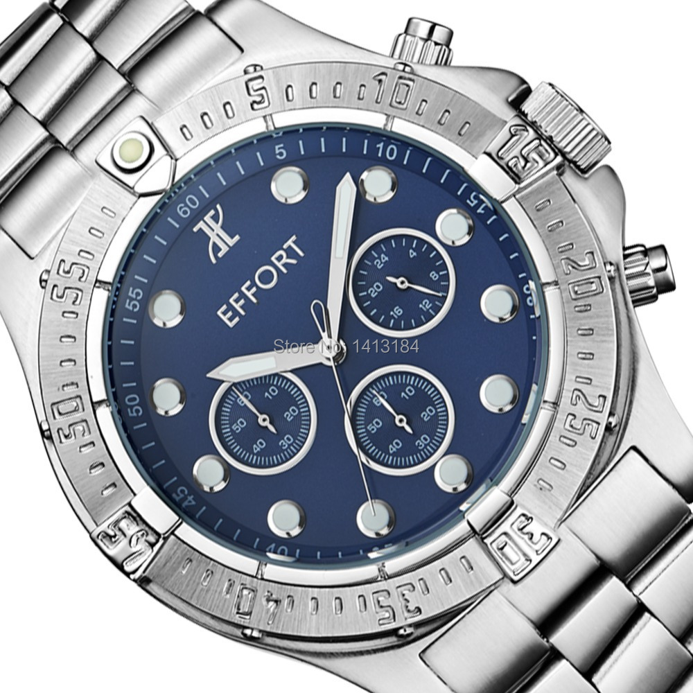 ФОТО Brand New EFFORT Blue Dial Stainless Steel 6 Hands Display Relogio Masculino Wrist Quartz Mens Watches Water Resistant 200M