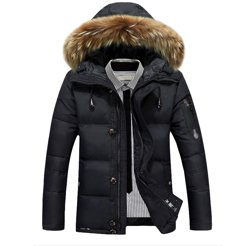 Winter Mens Thick Duck Down Coat 90% White Duck Down With Fur Hood Parka Male Solid Color Zipper Duck Down Jackets Outwear Coat arbitmatch fashion warm winter 2017 womens down jackets brands hood thick long female down coat zipper windproof parka outwear