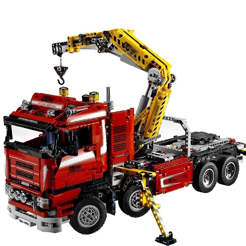 Compatible Legoe Technic Series 8258 Model 20013 1877pcs Electric Crane Truck building blocks Figure bricks toy for children 0367 sluban 678pcs city series international airport model building blocks enlighten figure toys for children compatible legoe
