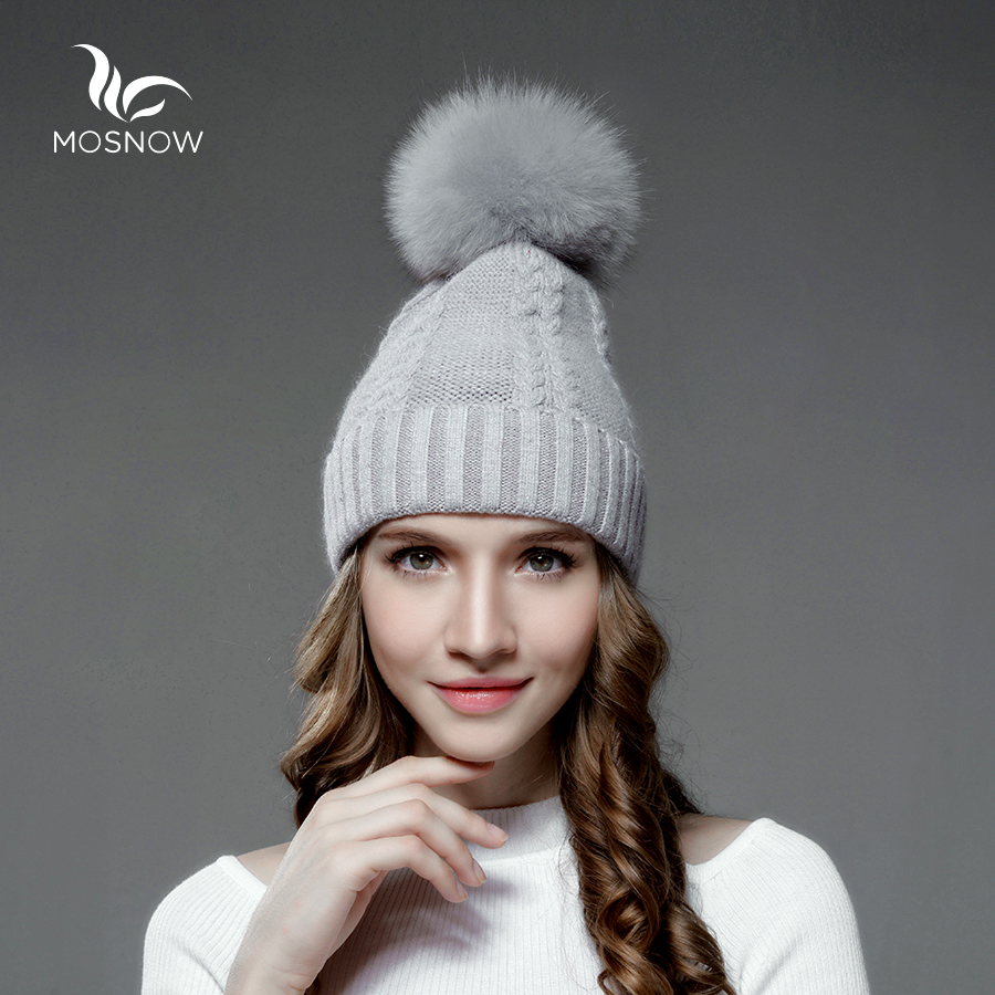 Mosnow Wool Fox Fur Pom Poms Winter Hats For Women Warm Women'S Knitted Vogue Casual Hat Female Skullies Beanies
