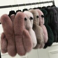 BFFUR Natural Real Fox Fur Vest is 50 cm Stylish Winter Short Thick Women Fur Vest Jacket Pockets Real Fur Vest Coats Slim Solid