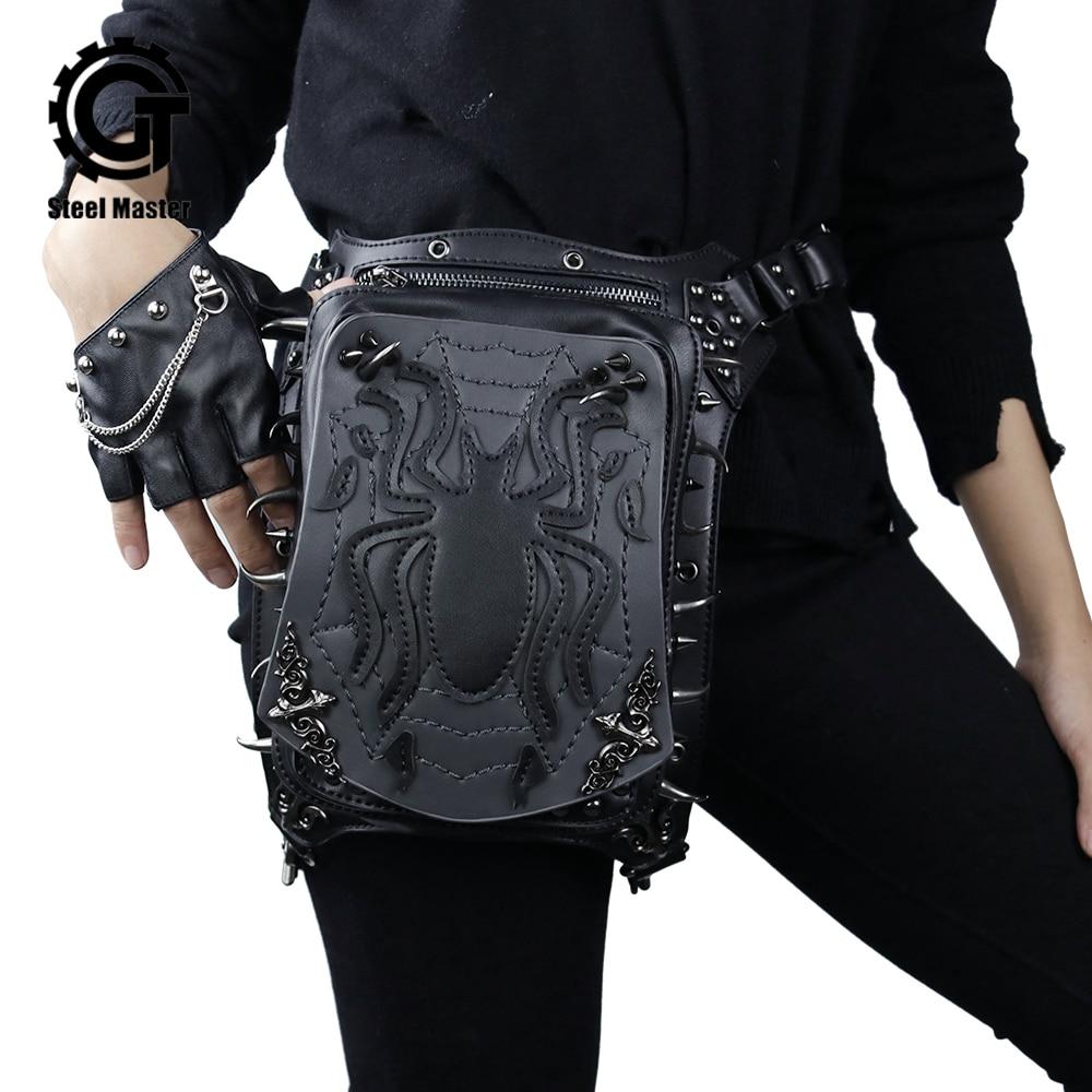 Жени готически ретро рок чанти за нокти Steampunk паяк талията чанта кръст чанта чанта черни кожени калъф за телефон калъф 2018 нова мода