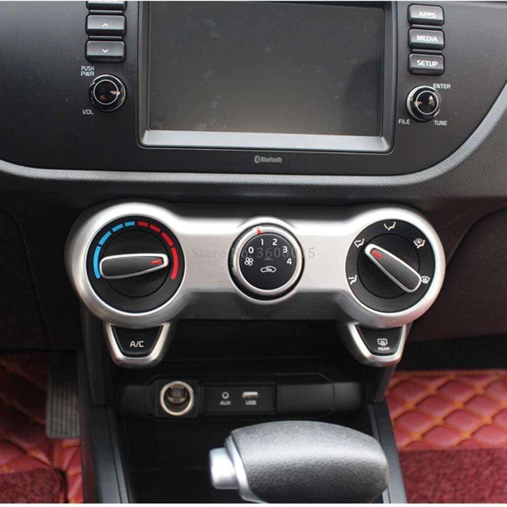 For Kia Rio 4 X-line 2018 2019 Carbon Fiber Air Conditioning Control Switch Button Trim Decorative Frame Interior Accessories