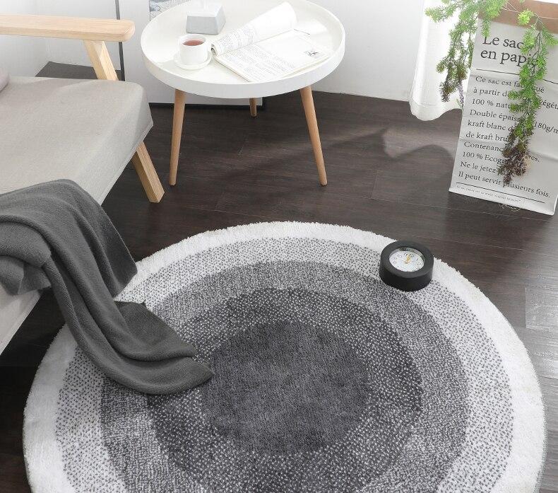 Скандинавские серые круглые ковры, толстые коврики для компьютерного стула, круглые коврики для гостиной, ковер для детской спальни, современный пол для Кабинета