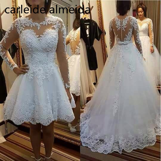 Vestido de noiva Sexy Back Long Sleeves 2 in 1 Wedding Dress with Pearls Decoration 2019 Luxury Wedding Gowns