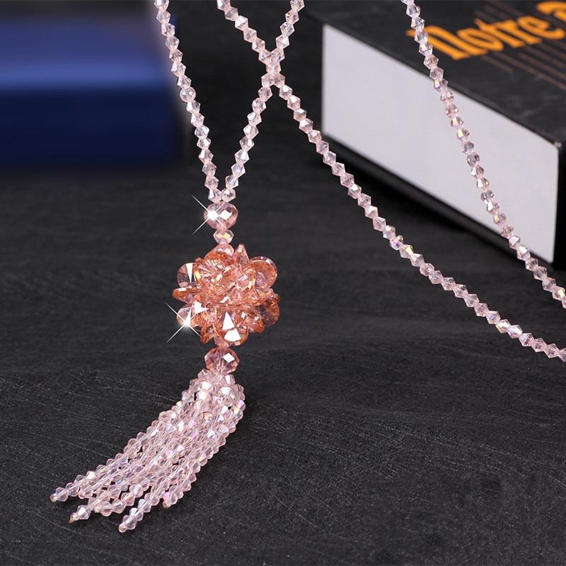 Heeda корейское длинное ожерелье с хрустальными бусинами для женщин, осенне-зимний свитер Джокера, цепочка, мода, Kpop, подвеска с кисточкой, украшение на шею - Окраска металла: Pink