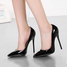 Brand Shoes Woman High Heel Pumps Sexy Wedding Shoes High Heels Pointed Toe Women Pumps Patent Ladies Shoes Big Size FS-0089