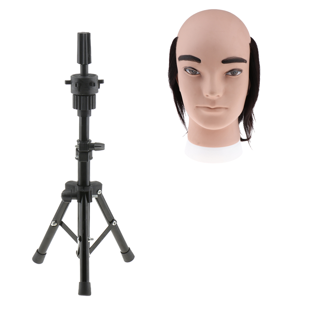 8 inch Male Mannequin Head Human Hair Barber Styling Training Doll Head with Tripod