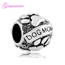 Dog mother dog footprints oval European big hole charm beads female classic popular Fit Pandora Bracelet Women's DIY Jewelry(China)