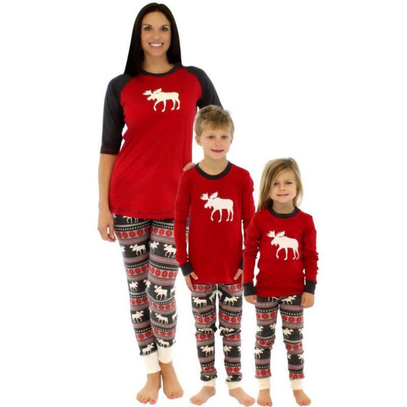 Family Matching Christmas Elk Printed Sleepwear Child Mom Dad Deer Striped Pajamas Set Family Clothing HT