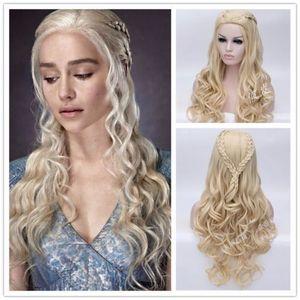 Image 1 - Daenerys Targaryen Cosplay Wig Dragon Mother Long Wavy Blonde Hair Wigs Halloween Party Costume Wig