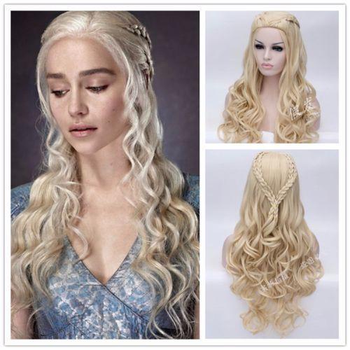 Daenerys Targaryen Cosplay peruk ejderha anne uzun dalgalı sarı saç peruk cadılar bayramı partisi kostüm peruk