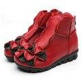 2016 Mujeres Flores Pisos Zapatos de Las Mujeres Ocasionales Zapatos de Plataforma de Cuero Genuino Punta Redonda Transpirable Zapatos de Las Mujeres Con Cremallera 8d65