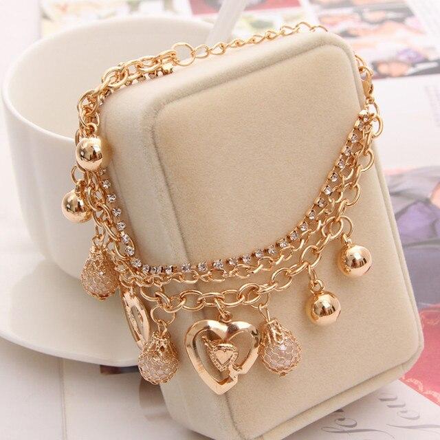 2019 Новый женский браслет Многослойные золотые браслеты с сердечками и кольцеобразные браслеты с брелоками для женщин хрустальные браслеты