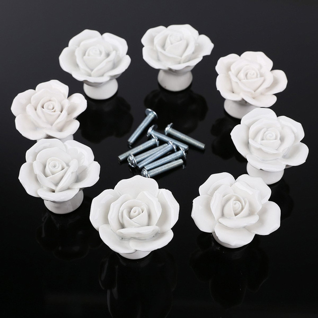 8pcs Ceramic Roses Flower Shape Door Knobs Cabinets Handle