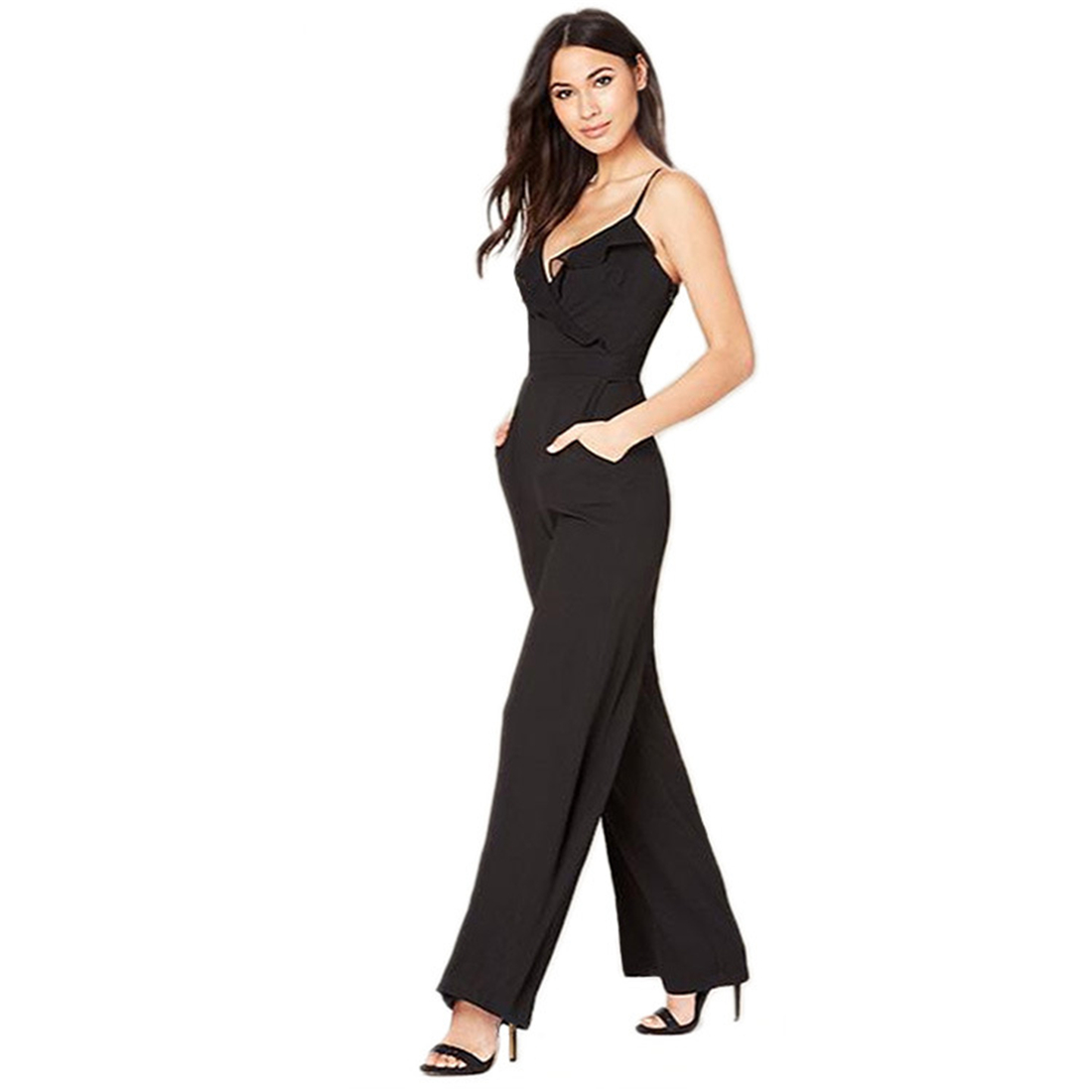 784fccb71c0622 With Double Pockets Elegant Office Jumpsuits V-Neck Spaghetti Strap Summer  Overalls for Women Black Rompers Sexy Wide Leg Pants