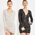 2016 Autumn Winter New Vintage Elegant Sexy Bodycon Slim Lace Deep V Neck Long Sleeve Women Dress Office Club Evening Party