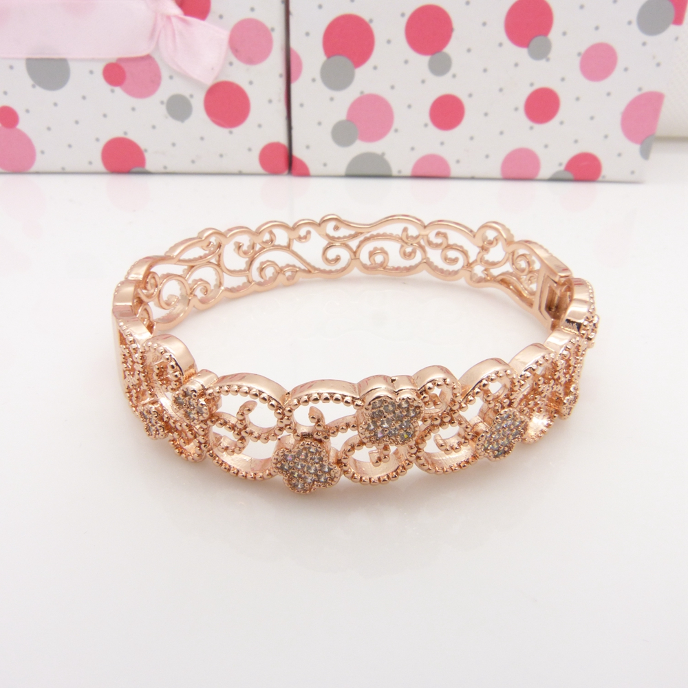 ٩(^‿^)۶Hollow filigrana pulsera Rose gold filled flor patrón mujeres ...