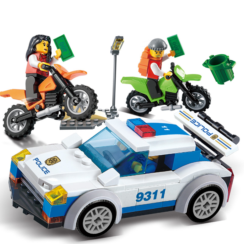 158Pcs Children Blocks Toys City Police car Blocks compatible with Legoe Toys Assembled Building Educational DIY Toys for Kids lepin 02012 city deepwater exploration vessel 60095 building blocks policeman toys children compatible with lego gift kid sets