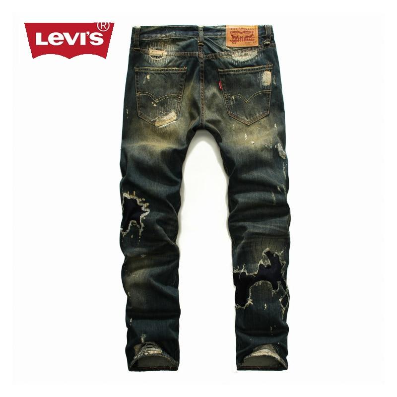 Levi s Fashion Men Jeans Casual Slim Hip Hop Trousers Mens Straight Denim  Full Length Pants Women Hole Ripped Streetwear M607 7492771c3c7