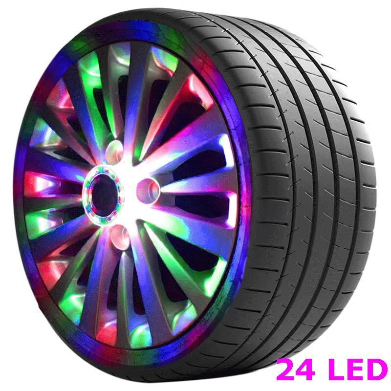 16/24 Leds Bunten Flash Solar Licht Rgb Led Lampe Auto Styling Umrüstung Rad Licht Hub Cap Für Bmw Benz Jeep Mustang 2018 Neue