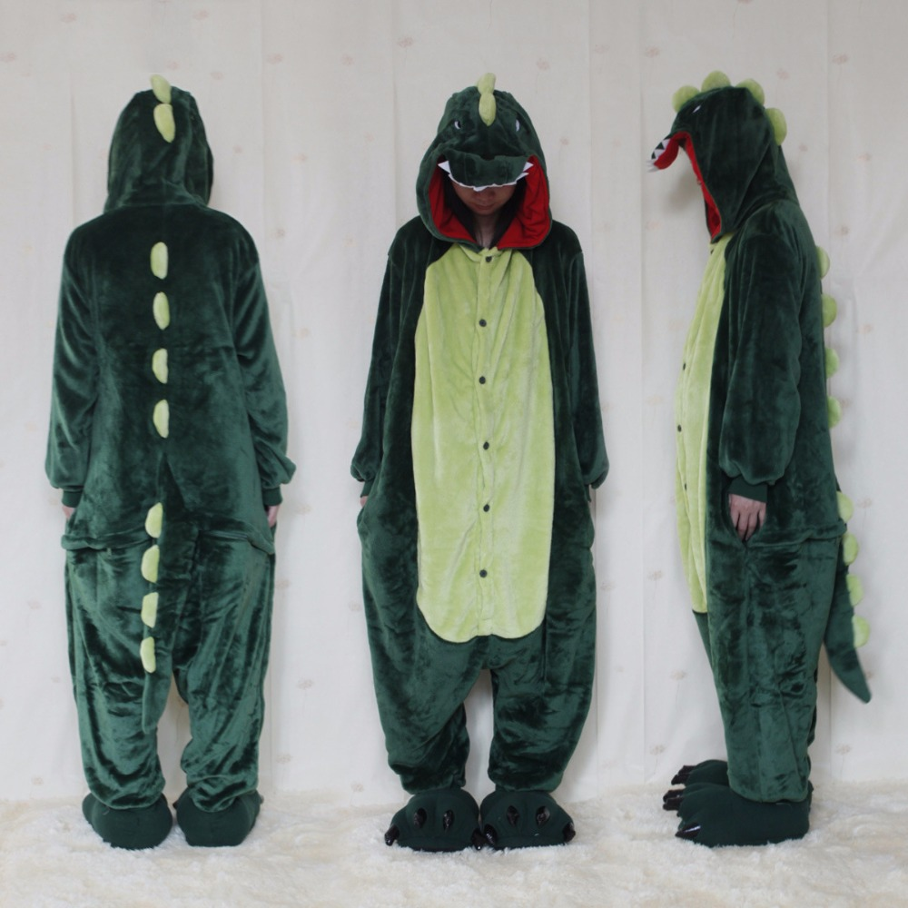 Autumn Winter Flannel Lovers Couples Women Unisex Dragon Monster Style Pajamas One Piece ...
