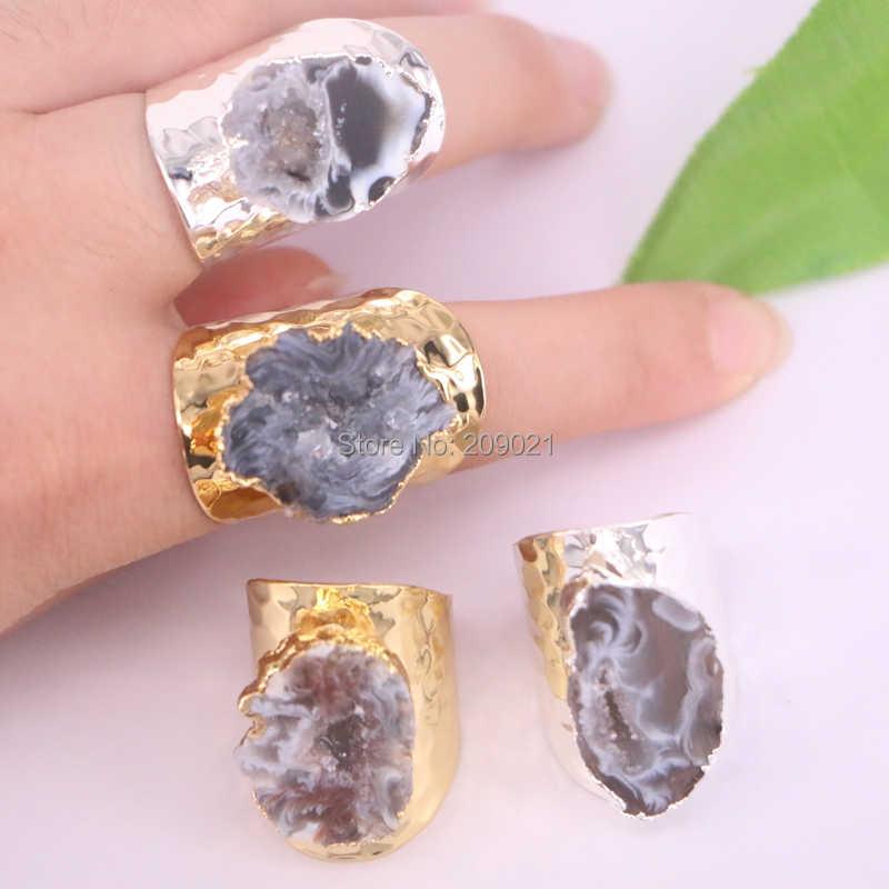 6ชิ้นทอง/สีเงินธรรมชาติG Eodeหินแหวน,ธรรมชาติอัญมณีแหวน