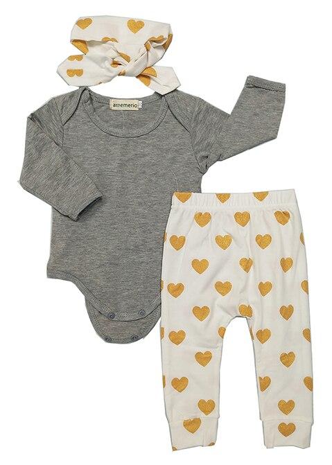 Newborn baby bebe Infant girl clothes Long sleeve gray red heart Tops Goldden Love Pants Headband 3Pcs Baby Girls Clothing Sets 1