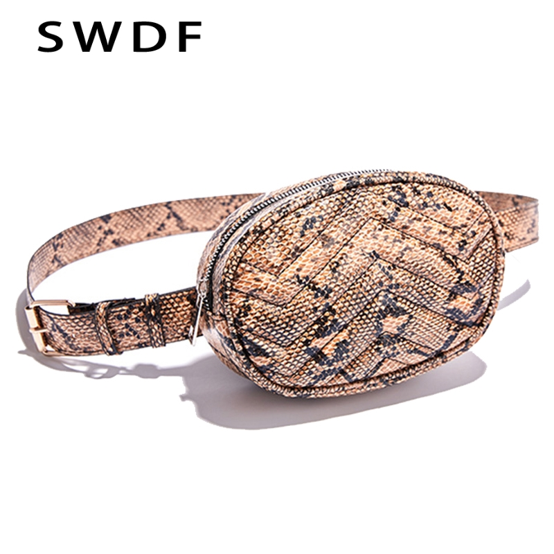SWDF Belt Bag Waist Bag Round Fanny Pack Women Luxury Brand Leather Handbag Snake 2019 Summer High Quality Drop Shipping