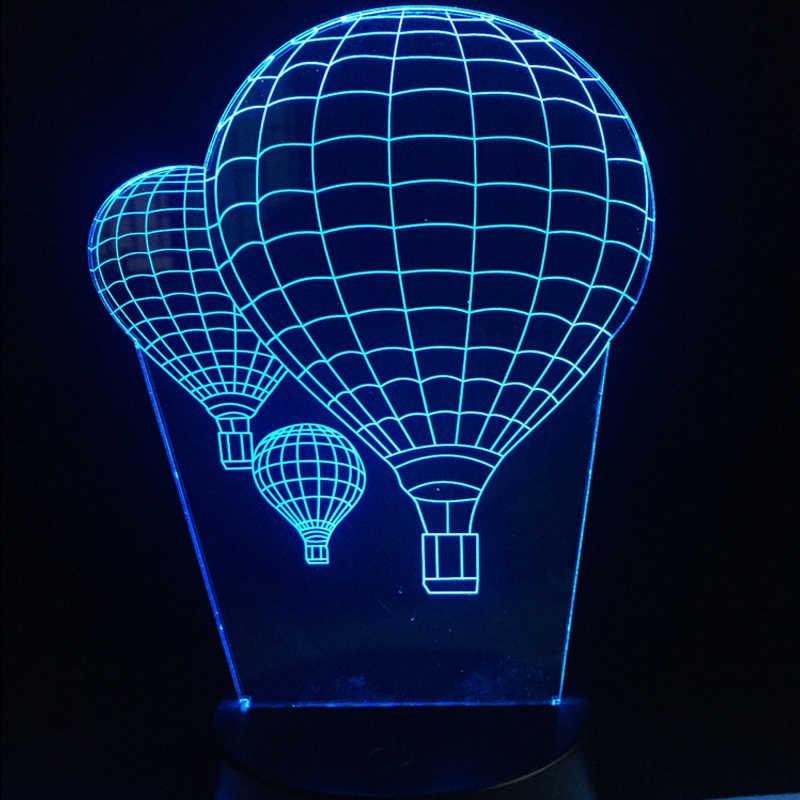 אוויר חם בלון 3D מנורת תאורת LED USB מצב רוח לילה אור ססגוניות מגע מרחוק Luminaria שולחן שולחן דקורטיבי בית עיצוב