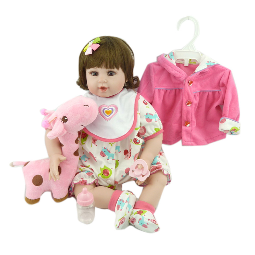 Pursue 20/51 cm Handmade Hot Sale Reborn Silicone Baby Girl Doll Toys for Children Girls Birthday Gift with Pink Plush Deer Toy huge 90x70cm sika deer plush toy standing pose deer doll christmas gift b4694