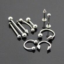 1 шт. 316L серьги из нержавеющей стали серьги-гвоздики иглы для пупка пирсинг носа губ язык кольцо с полосками пирсинг в форме гантели, ювелирное изделие, подарок
