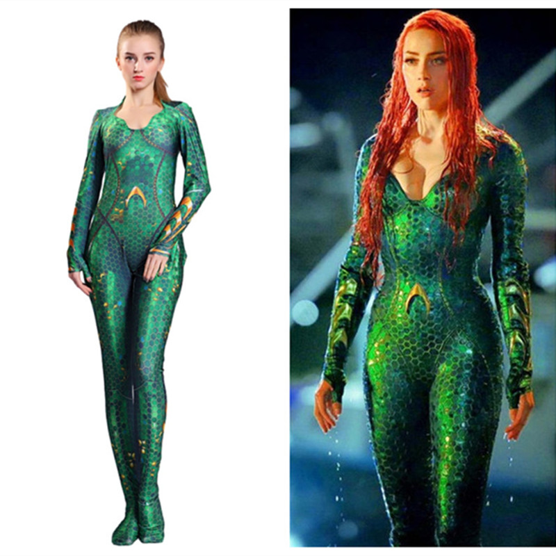2019 Aquaman Mera Costume Women Girls Amber Heard Queen of the Sea kids Bodysuit Justice League DC Superhero Halloween Costumes