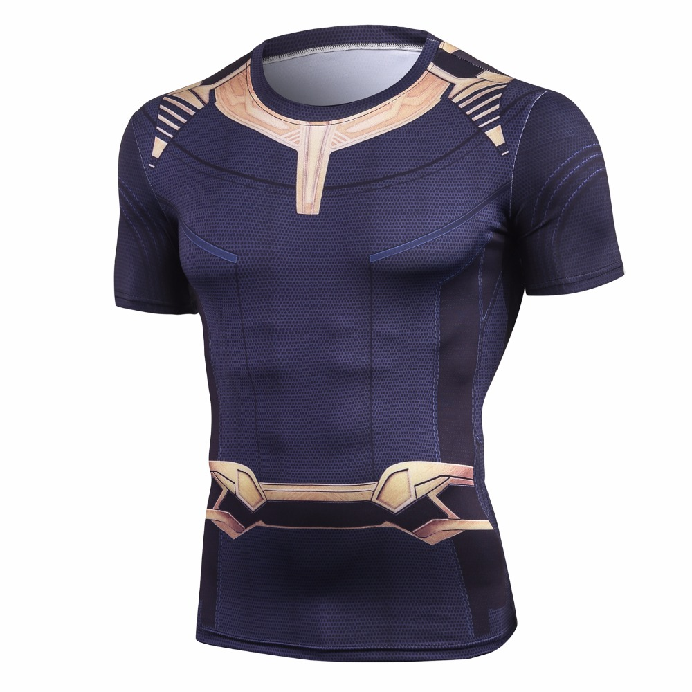 Avengers 3 Short Sleeve Compression   Shirts   Thanos 3D Printed   T     shirts   Men 2018 Summer NEW Crossfit Top For Male Fitness Cloth
