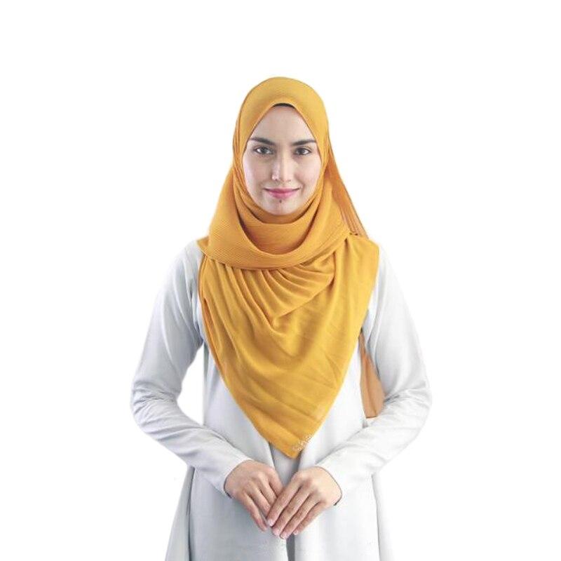 Chiffon Scarf Crinkled Hijab Wrinkle Bubble Chiffon Plain Shawl Muslim Headband Winter Fashion Women Scarves Wraps Pashmina