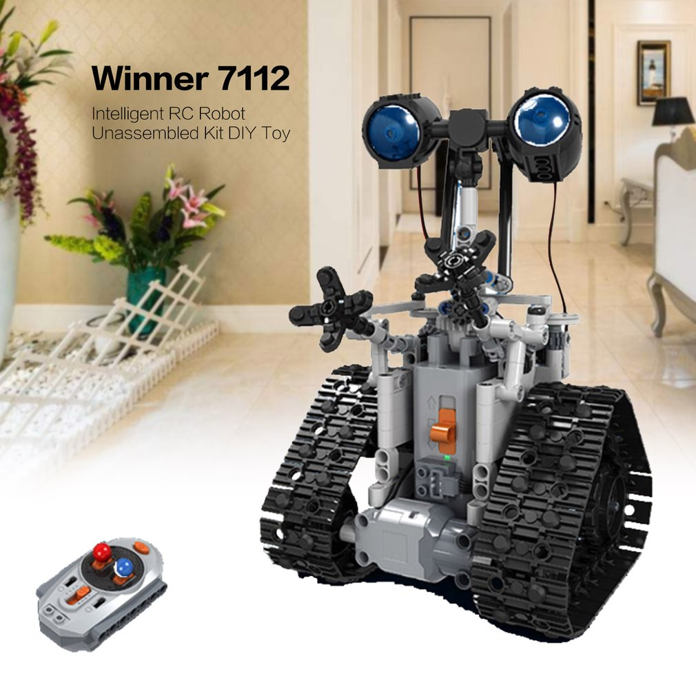 Winner 7112 2.4G télécommande intelligente électrique RC Robot bloc de construction bricolage Kit non assemblé jouet pour enfants cadeau