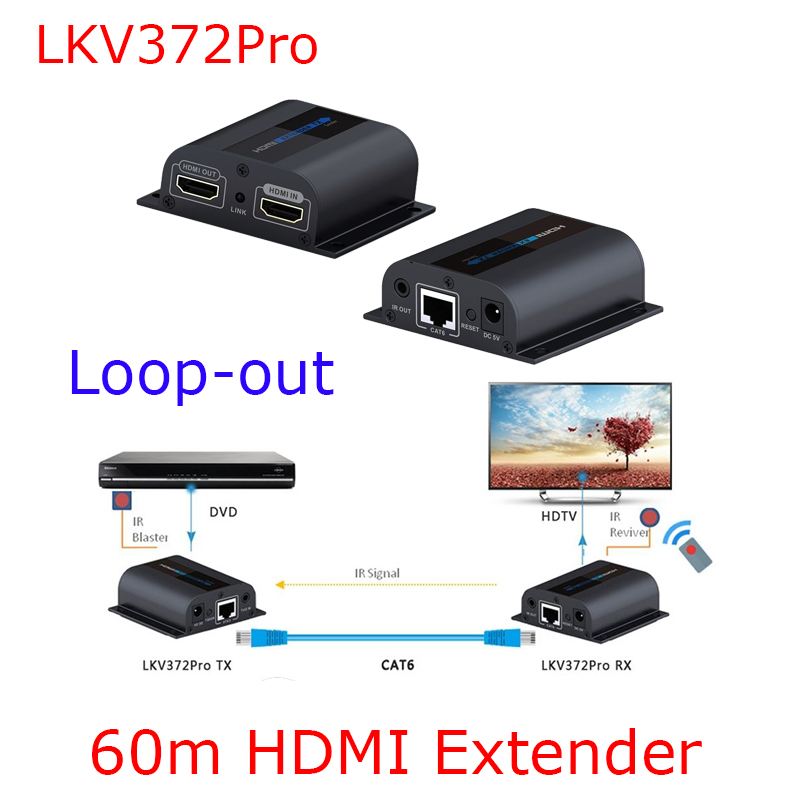 Keycube LKV372Pro 1080P HDMI Extender With Loop & IR Repeater Cable Over Ethernet Cat5e/6 up to 60M RJ45 best price new usb utp extender adapter over single rj45 ethernet cat5e 6 cable up to 150ft