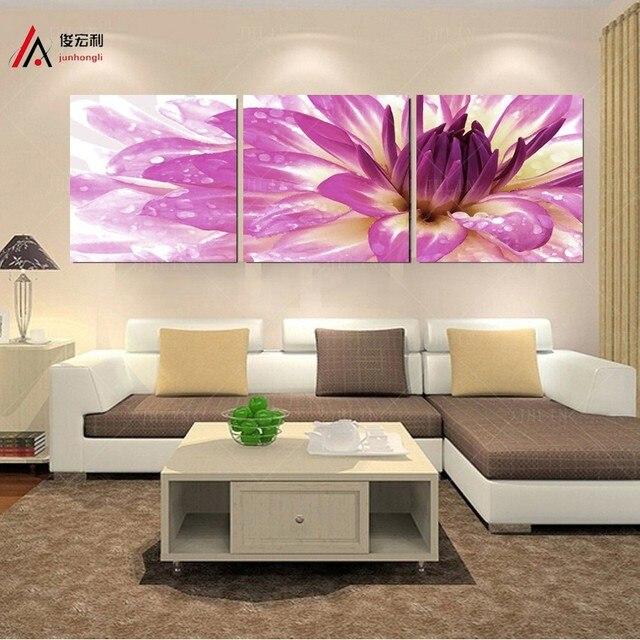 modern flower paintings 3 piece large canvas print wall art modular ...