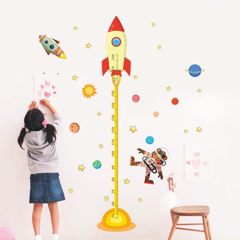 Système solaire fusée hauteur mesure Stickers muraux pour chambre d'enfants espace extérieur ciel décalcomanies astronaute moine