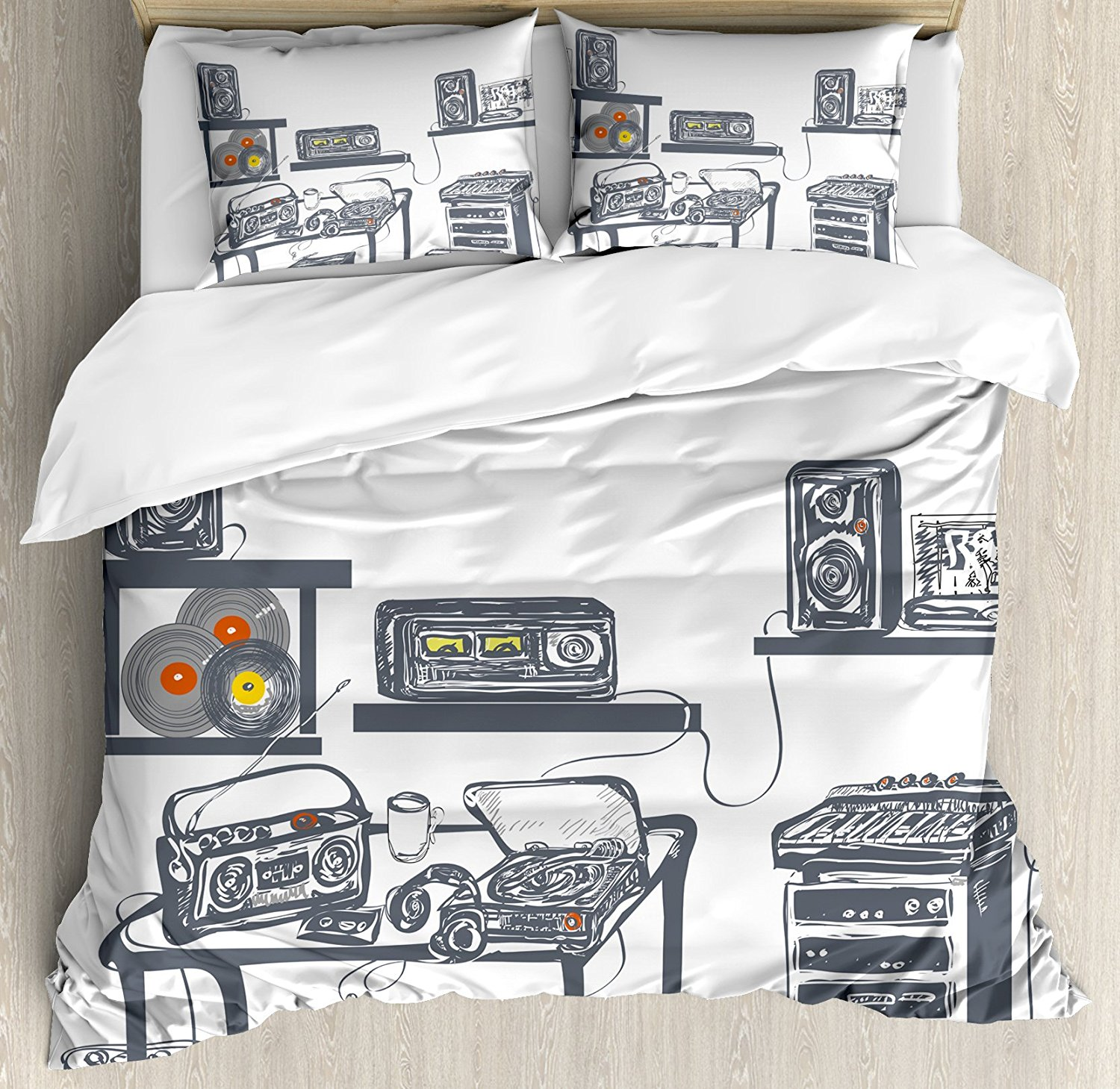 buy modern duvet cover set recording studio with music devices turntable. Black Bedroom Furniture Sets. Home Design Ideas