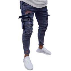 Повседневные мужские Стрейчевые джинсовые брюки с потертостями Freyed Slim Fit карманные джинсы брюки Calca джинсы Masculina Vaqueros Hombre 5
