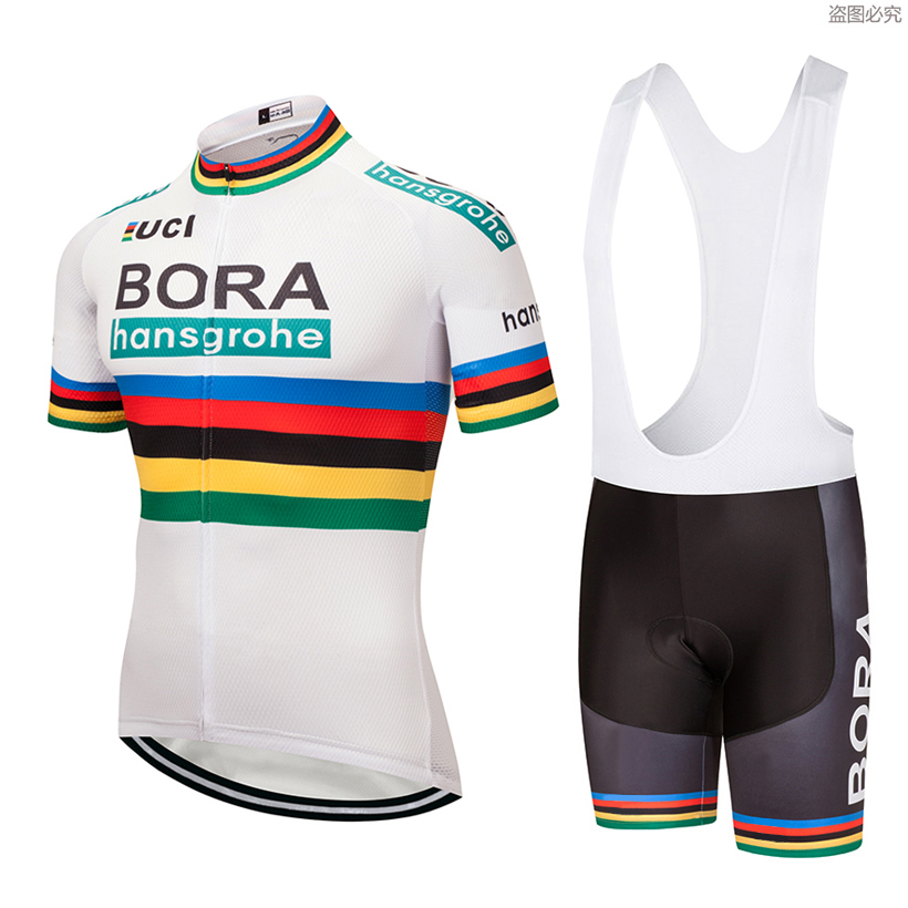 2019 White Bora Cycling team jersey 9D Gel pad Bike shorts set quick dry Ropa Ciclismo Menn pro BICYCLING Maillot Culotte 2018 new team bora cycling jersey bike shorts set ropa ciclismo quick dry mens cycling wear bicycle maillot bib shorts 9d pad