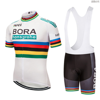 2019 White Bora Cycling team jersey 9D Gel pad Bike shorts set quick dry Ropa Ciclismo Menn pro BICYCLING Maillot Culotte