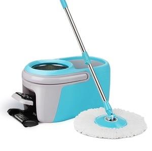 Image 1 - Вращающееся ведро для швабры с вращением на 360 градусов, четырехприводная вращающаяся педаль для швабры, автоматическое обезвоживание, для сухой уборки дома, с 4 насадками для швабры