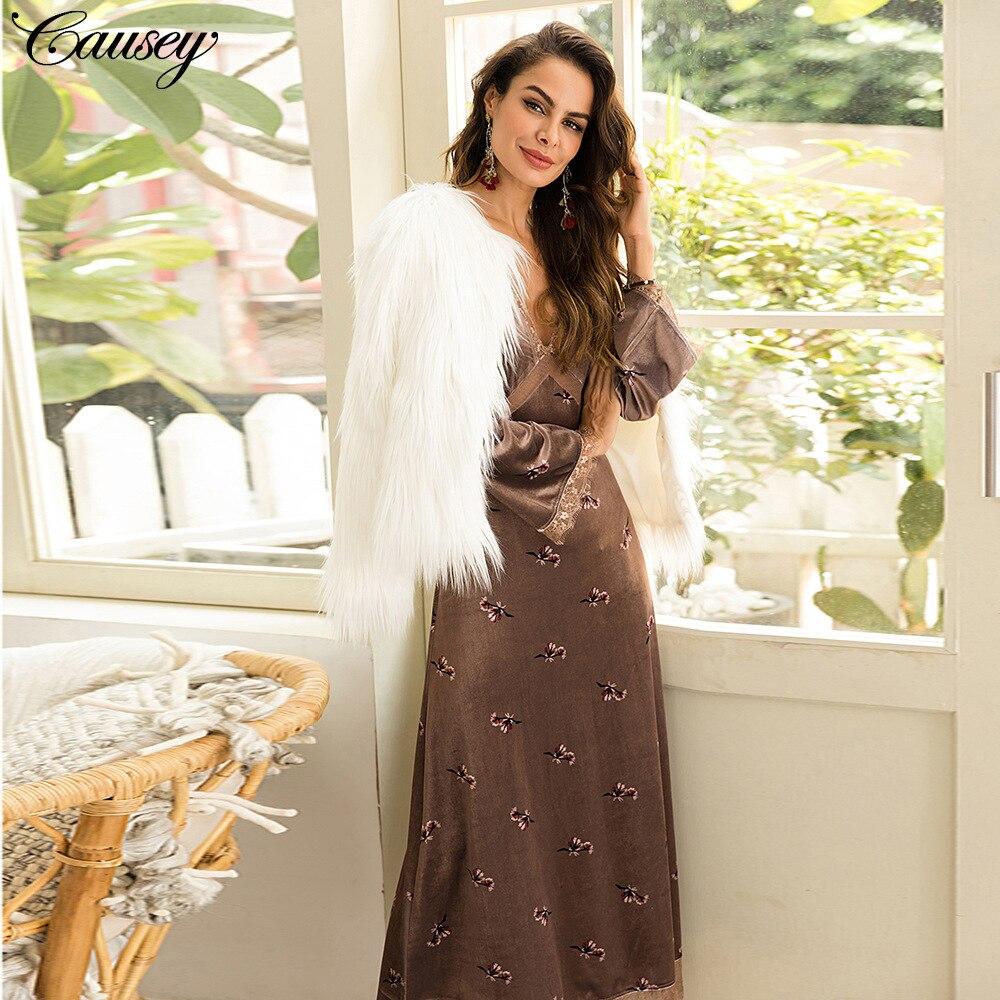 Femmes couture col en v, manches longues, manches larges robes à fleurs