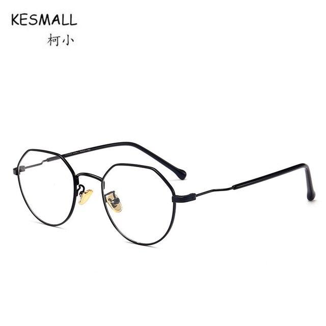 Poligonal KESMALL 2018 Nova Moda Óculos de Armação Homens Ou Mulheres óculos  de Miopia Do Vintage eddf477301