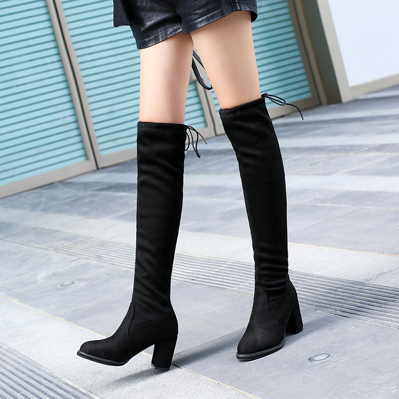 LADIES BLACK OVER THE KNEE FAUX SUEDE LACE UP BOW DETAIL BLOCK HIGH HEELS BOOTS