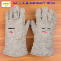 CASTONG 500 degrees high temperature gloves Aramid + aluminum foil fireproof gloves Flame retardant Anti scalding protect gloves